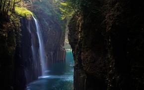 nature, canyon, boat, waterfall, Japan, blue