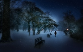 bench, snow, landscape, nature, cold, evening