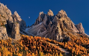 Dolomites mountains, Italy, fall, trees, mountain, sky