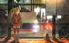 Hatsune Miku, anime girls, bus stations, snow, Vocaloid