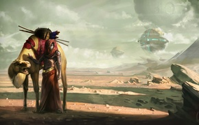 futuristic, artwork, camels, desert, warrior, shirtless