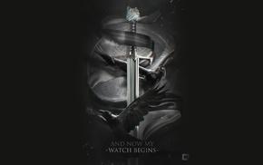 crow, sword, animals, black background, Game of Thrones, quote