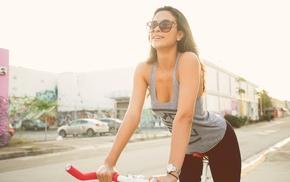 girl with bikes, brunette, long hair, girl, yoga pants, straight hair