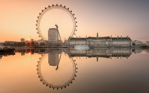 water, England, ferris wheel, architecture, London, sea