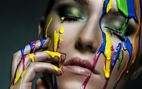 hand on face, colorful, girl, portrait, face, photography