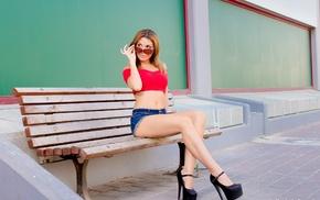 girl with glasses, black heels, jean shorts, high heels, Julie Chiko, girl