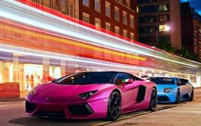 pink, Lamborghini Murcielago, Lamborghini, Lamborghini Aventador, car, motion blur