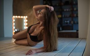 black lingerie, lingerie, black bras, smiling, model, closed eyes