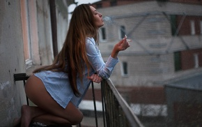 smoking, girl, bottomless, ass, shirt, model