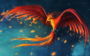 fantasy art, burning, phoenix, wings, flying, birds