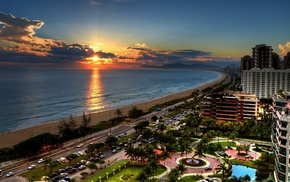 city, car, beach, Brazil, sea, road
