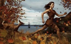 Jessica Biel, Native American clothing, Pocahontas, fall, girl, long hair
