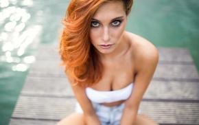 face, redhead, Victoria Ryzhevolosaya, portrait, cleavage, girl