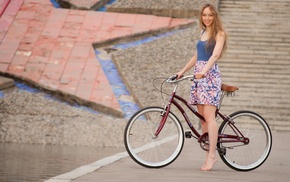 girl, bicycle