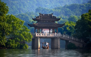 China, canoes, bridge, river