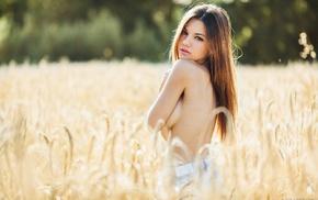 topless, field, sideboob, brunette, girl, model