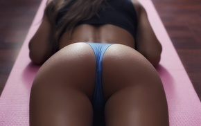 thong, blue panties, brunette, black tops, lying down, on the floor