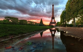 Eiffel Tower, river, Paris, grass, sky, France