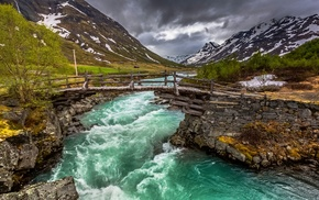 bridge, water, nature, river, landscape, Norway