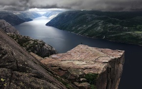 Norway, nature, landscape, rock, fjord, Preikestolen