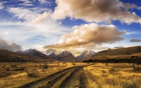 panoramas, shrubs, dirt road, clouds, New Zealand, landscape