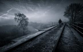 mist, landscape, sunrise, dark, walking, nature