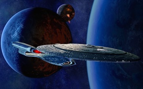 planet, USS Enterprise spaceship, space, Star Trek
