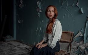 chair, girl, freckles, blue eyes, redhead, ruin