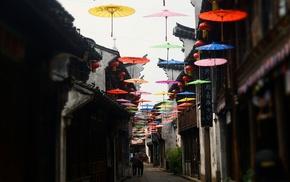 Asia, city, umbrella, colorful, Japanese umbrella, street