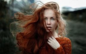 freckles, windy, Georgiy Chernyadyev, redhead, girl outdoors, girl