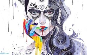 digital art, finger on lips, portrait, long hair, girl, face