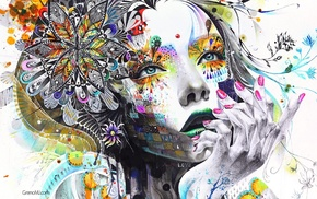 artwork, girl, open mouth, finger on lips, paint splatter, white background