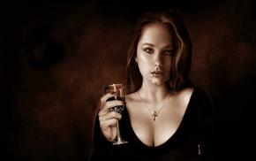 blood, artwork, portrait, girl