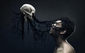 death, men, Gothic, digital art, fantasy art, skull