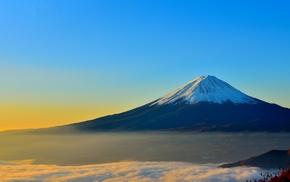 Mount Fuji, sunrise, mist, Japan, landscape
