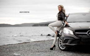 pants, Mercedes, Benz, black heels, blonde, high heels