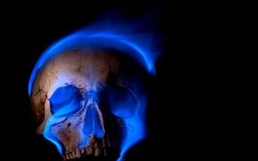 burning, skull, digital art, blue flames, spooky, Gothic