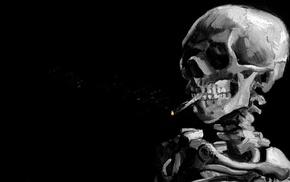 smoke, bones, painting, monochrome, teeth, black background