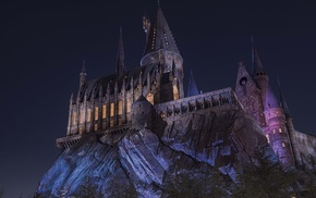 lights, trees, dark, magic, castle, Hogwarts
