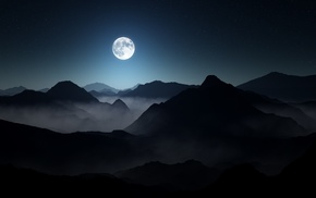 mist, moon, moonlight, nature, mountain, landscape
