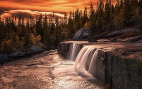 waterfall, sunset, fall, landscape, long exposure, trees