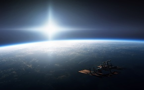 International Space Station, space, Earth, Sun, lens flare, ISS