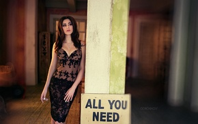 girl, dress, Ivan Gorokhov, brunette, black dress, cleavage