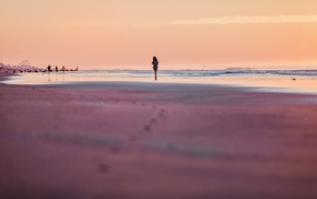 girl, walking, sunset, beach