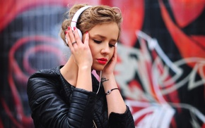graffiti, girl, red lipstick, headphones, leather jackets, blonde