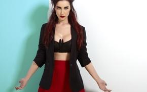 Sla Genolu, girl, singer, redhead, red lipstick, red