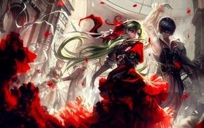 Vocaloid, Kagamine Rin, fantasy art, green hair, anime, Kagamine Len