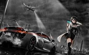 anime girls, original characters, Audi R8, machine gun, anime