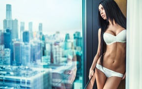 window, girl, flat belly, cityscape, looking away, white lingerie