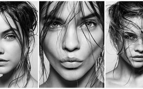 long hair, monochrome, brunette, hair in face, collage, wet hair